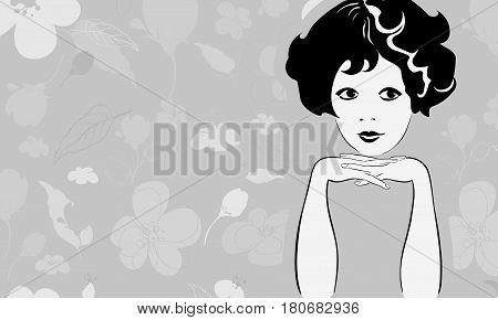 Black and white vector portrait of a young charming girl against a background of a pattern of stylized flowers and leaves