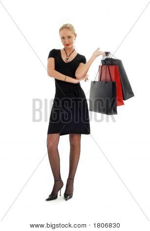 Shopping Blond In Black Dress #3