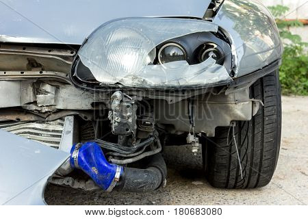 car accident damaged vehicle after crash. business and insurance concept.