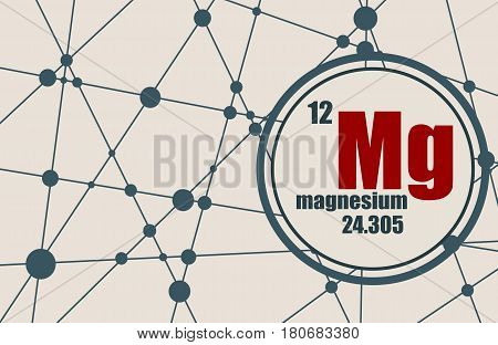 Magnesium chemical element. Sign with atomic number and atomic weight. Chemical element of periodic table. Molecule And Communication Background. Connected lines with dots.