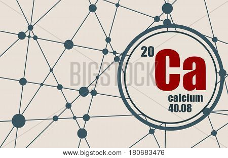 Calcium chemical element. Sign with atomic number and atomic weight. Chemical element of periodic table. Molecule And Communication Background. Connected lines with dots.
