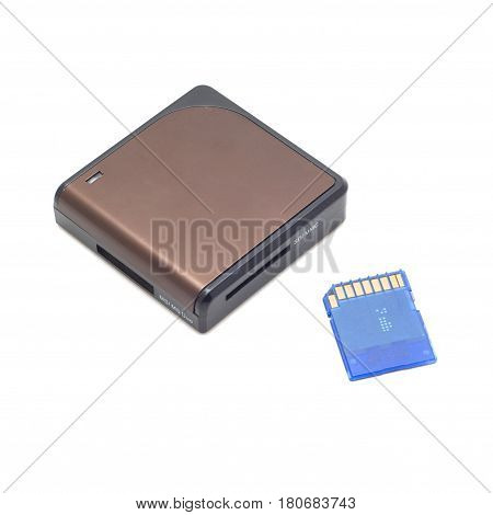 Sd card and card reader isolate on white background