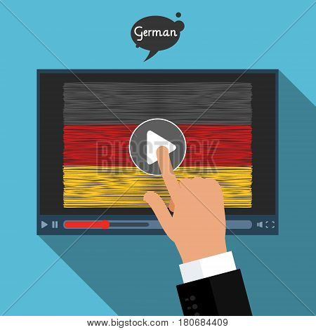 Concept of learning languages. Study German. Screen with hand drawn German flag. Film in German.