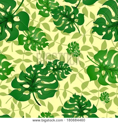 Monstera.Bright seamless pattern with green tropical leaves on a light background background.Summer vector illustration with exotic plants.Print for book covers, textile, fabric, wrapping gift paper