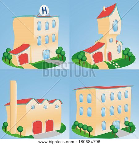 Cartoon style buildings front enterance, issolated illustration