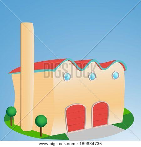 Cartoon style Factory  front enterance, issolated illustration