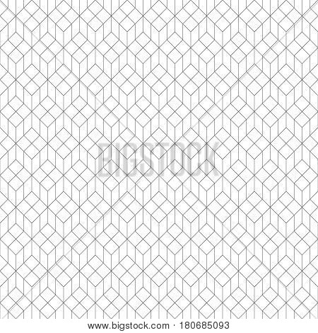 Vector seamless pattern. Modern stylish texture with thin lines which form regularly repeating tiled hexagonal linear grid with hexagons and rhombuses. Abstract geometric background
