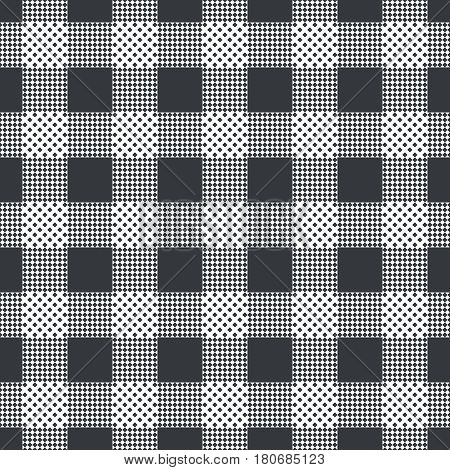 Plaid seamless pattern. Classical tablecloth texture. Checkered fabric background. Regularly repeating geometric tiles with small rhombuses squares. Vector element of graphical design