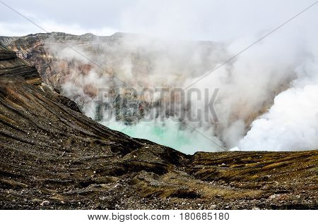 Steaming crater of the Mount Aso Kyushu Japan