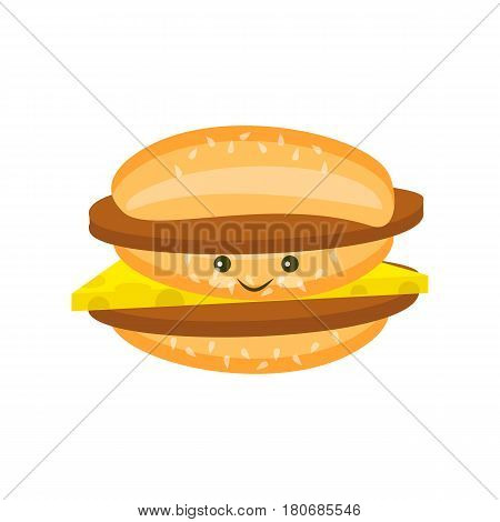 Flat double Kawaii cheeseburger with chop and cheese and sesame icon isolated on white background
