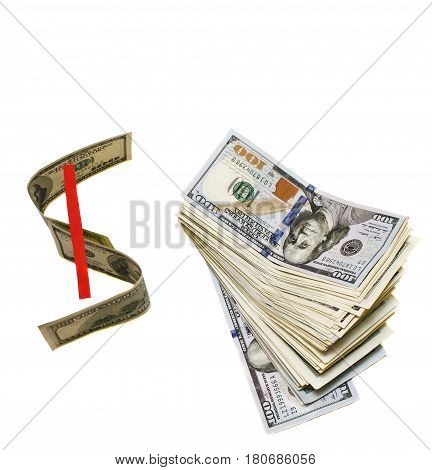 Dollar sign next to a stack of hundred dollar bills on white isolated background