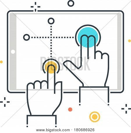 Color Line, Multitouch Interface Illustration, Icon