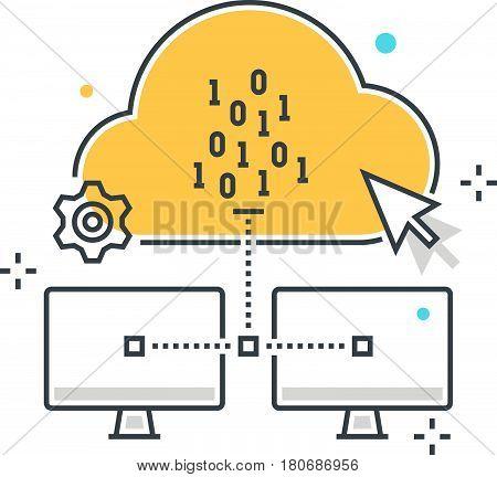 Color Line, Cloud Hosting Illustration, Icon