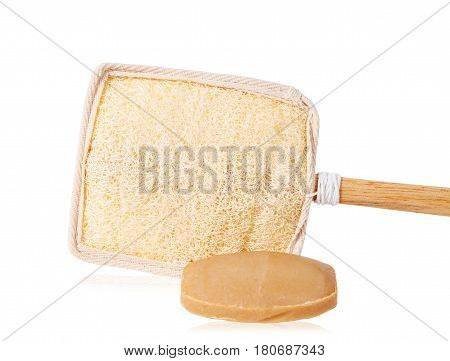Bar of natural brown soap and Wooden loofah or loofah brush for scrub body isolated on white background Save clipping path