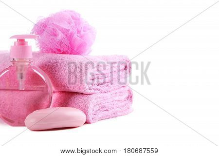 Pink Towels With Soap And Wisp Isolated On A White Background