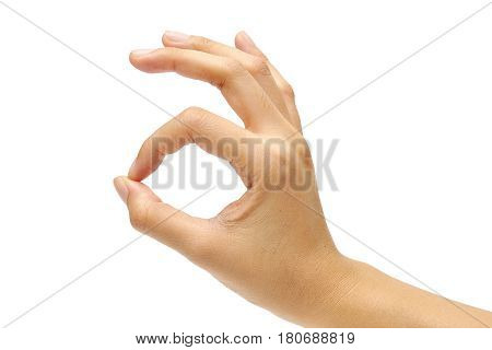 hand make OK isolated on white background