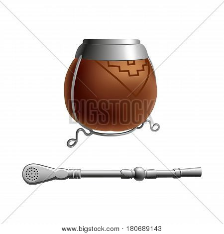 Isolated colored realistic brown calabash for yerba mate paraguay tea with prop and metal syphon stick bombilla on white background