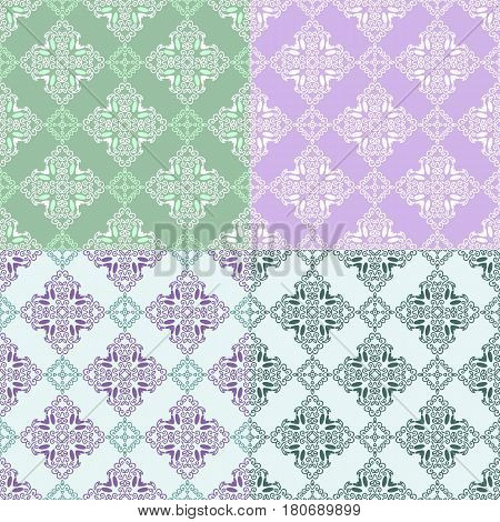 Set of seamless pattern with squares from green white violet purple outlines on light green green and violet background. Ornamental pattern from curve lines