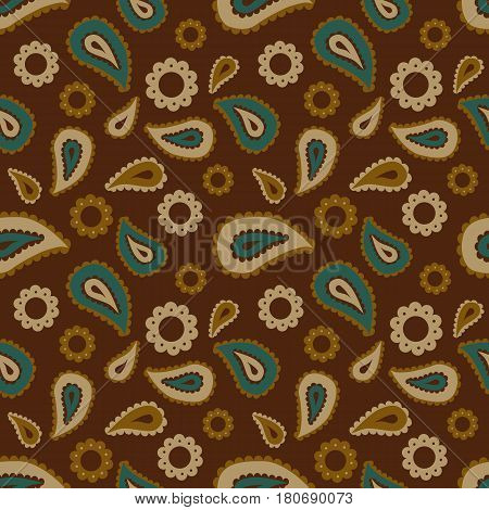 Seamless floral pattern with blue beige and brown plants flowers and leaves on brown background. Ethnic oriental print with cucumbers
