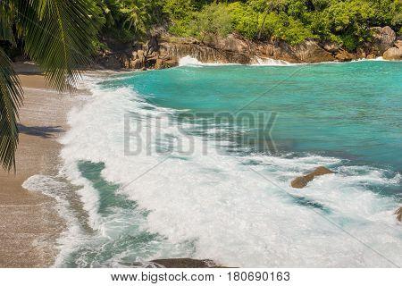 Ocean wave on a wild sandy beach on the Anse Major Mahe Island Seychelles Indian Ocean Easter Africa