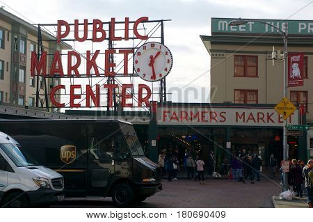 SEATTLE, WASHINGTON, USA - JAN 24th, 2017: Entrance to the Pike Place Market in Seattle Downtown. The market opened in 1907 and is still a major tourist attraction on the waterfront.