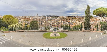 Panorama of Rome. View from the hill where the Villa Medici is located