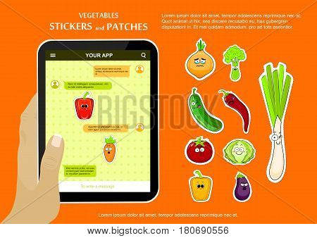 Cartoon vegetable cute characters face vector illustration. Funny vegetable face icon vector collection. Vegetable emoticon. Funny food stickers and patches for chat mobile application.