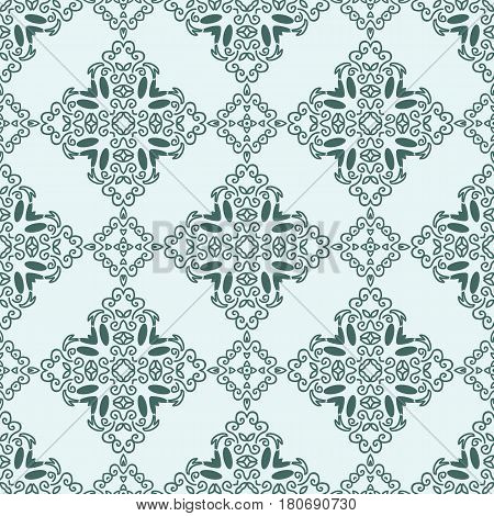 Seamless pattern with squares from dark green outlines on light green background. Ornamental pattern from curve lines