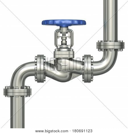 Industrial valve and pipes isolated on white background - 3D illustration