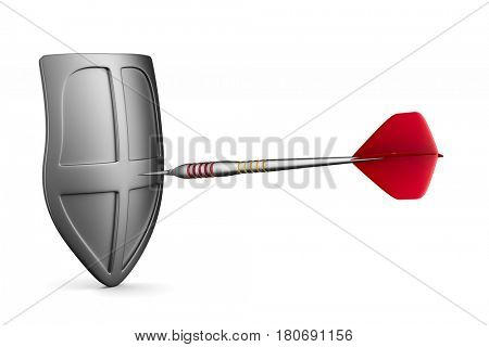 Dart on white background. Isolated 3D illustration