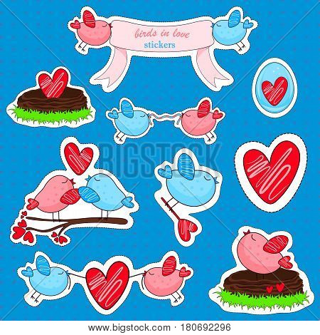 Birds in love and friendship. Funny cartoon birds stickers.