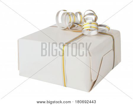 Gift box wrapped on white paper and satin ribbon with gold, isolated on white background. Design element present box for any holiday or birthday.