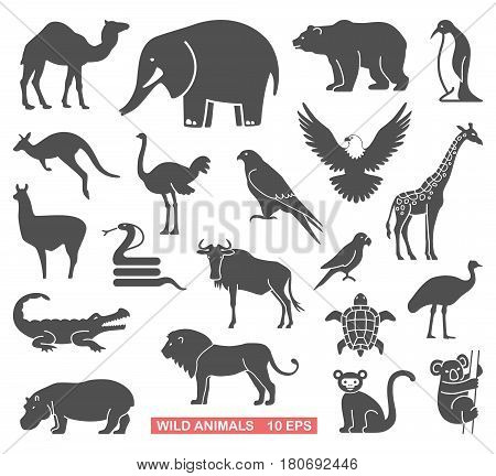 Silhouettes of wild animals and birds. Vector icons