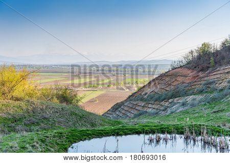 Beautiful rural lanscape in Transylvania near a village
