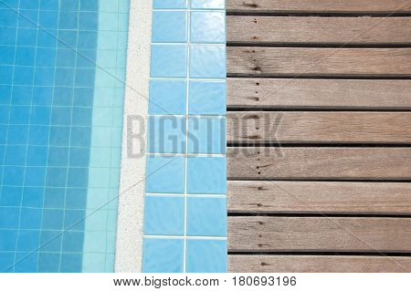 Wood Pattern And Swimming Pool Background