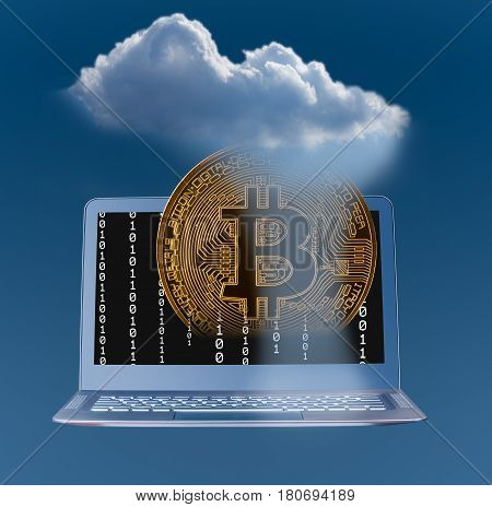 Concept image for cloud computing and mobile money services using bitcoin and blockchain applications on laptop