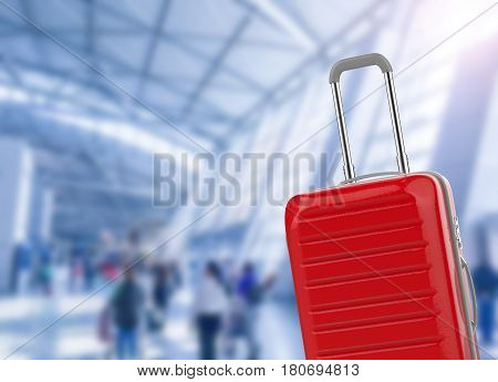 Hard Case Luggage With Airport Background
