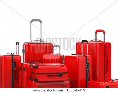 Red Hard Case Luggages Isolated On White