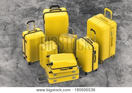 3d rendering yellow hard case luggages on grey background