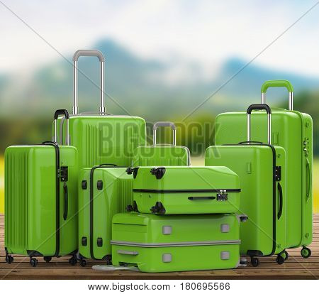 Green Hard Case Luggages With Nature Landscape Background
