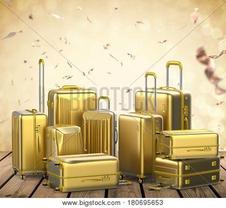 Gold Hard Case Luggages