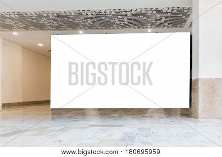 Big horizontal billboard banner signage mock up display in the shopping center