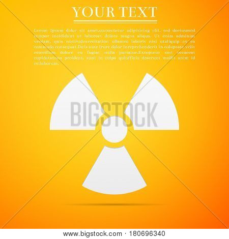 Radiation symbol flat icon on yellow background. Vector Illustration