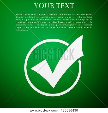 Check list button icon. Check mark in round sign flat icon on green background. Vector Illustration