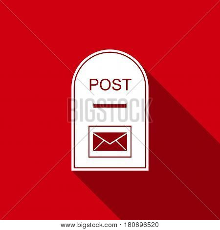Mail box icon. Post box flat icon with long shadow. Vector Illustration