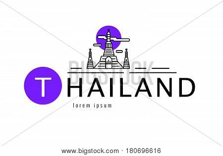 Thailand logo. Scene of  Wat Arun. Bangkok famous Landmark. flat line design element. vector illustration