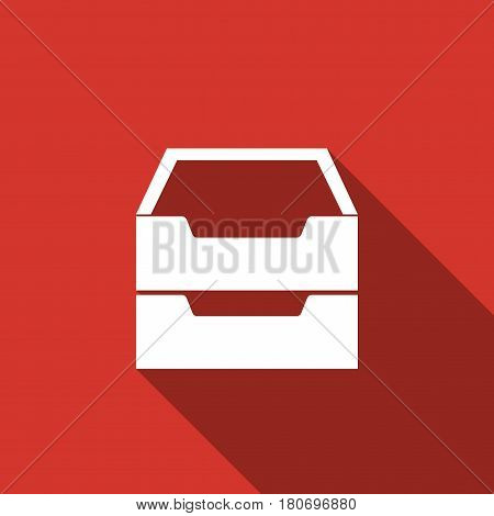 Document inbox flat icon with long shadow. Vector Illustration