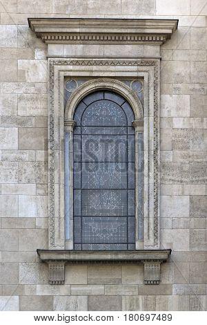 Budapest Hungary Szent István Basilica Neo Renaissance window detail.