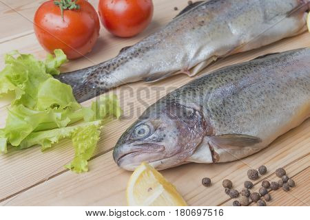 Raw fish food ingredients.Fresh trout.Trout with grilled(Crockery, Barbecue, Barbecue Grill, Dinner, Fish)