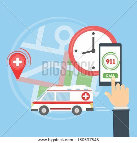 Call the ambulance. Map with ambulance car. Person holds smartphone and calls the first aid. 911 rescue.